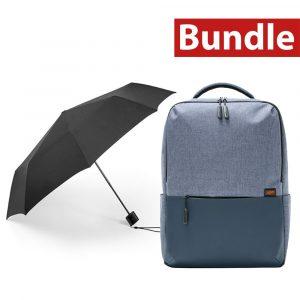 mi bundle automatic umbrella + commuter backpack light blue